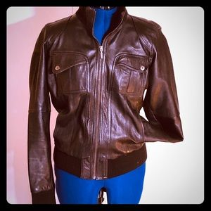 Great Kuga London brown leather bomber jacket M